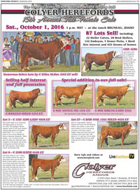 2016 Female Sale, Sat. Oct. 1st - Click to view ad